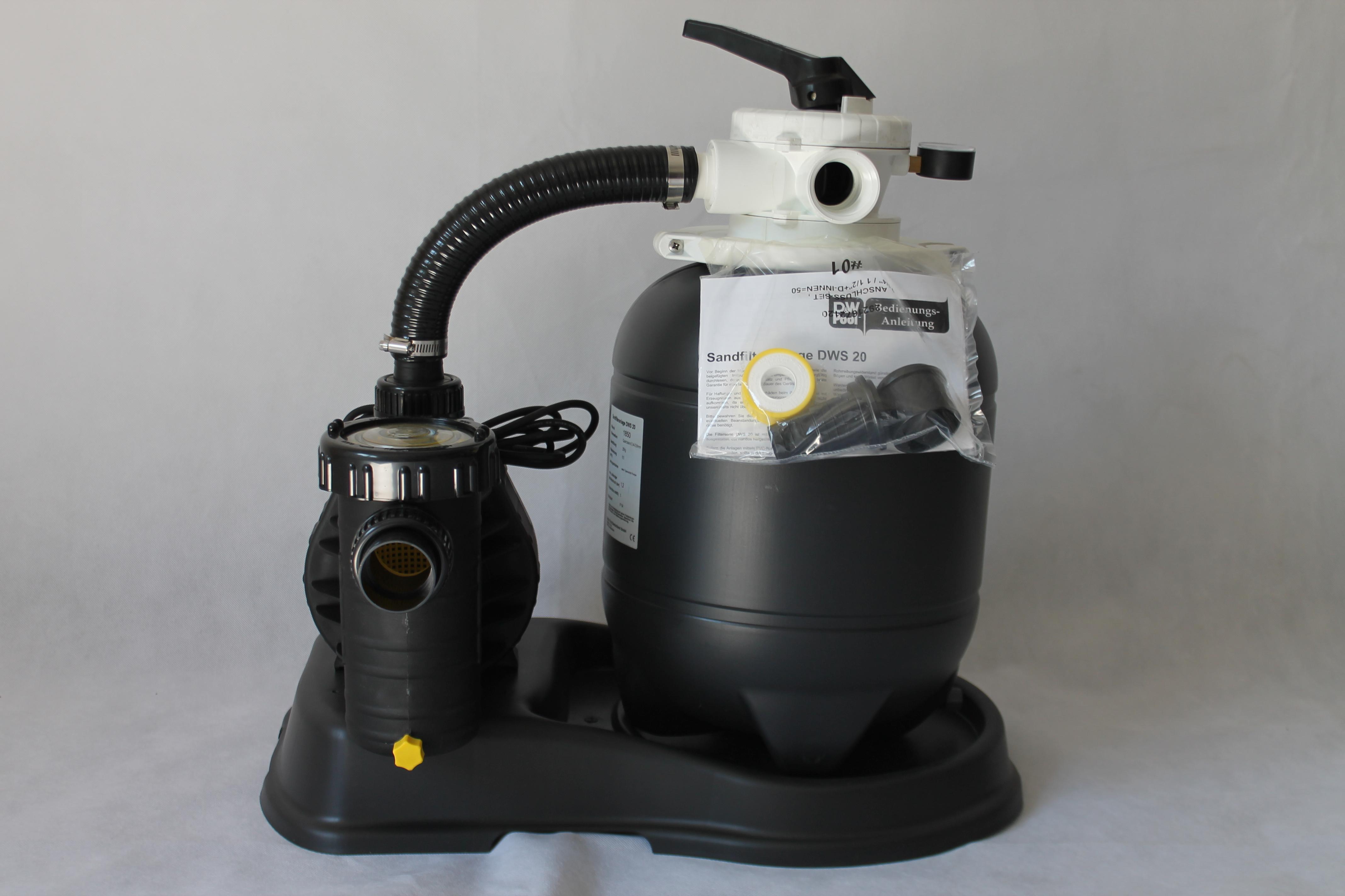 sandfilter dws 20 filteranlage schwimmbad pumpe pool bis. Black Bedroom Furniture Sets. Home Design Ideas